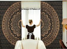 Luxury Black Gold Ombre Mandala Door Window Curtain Drape Panel Scarf Divider