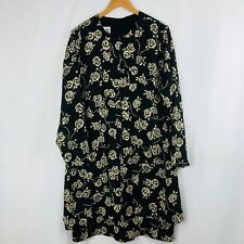 Evan Picone Dress Size 18 Womens Black Long Sleeve Empire Waist Shift Floral