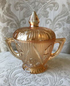 Collectable Jeannette Carnival Glass Iris and Herringbone Sugar Bowl with Lid