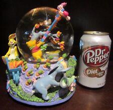 RARE Disney Winnie the Pooh Rabbit Piglet Tigger Eeyore Snowglobe Music Box