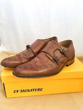 UV Signature Classic Men's Wing Tip Oxford Double Monk Strap Brown Dress Shoes 9