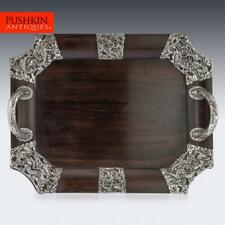 More details for antique 20thc japanese solid silver on wood serving tray c.1900
