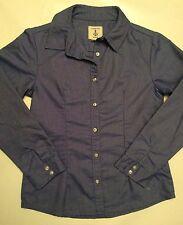 Lands End Kids girls size 7 blue Chambray button down dress shirt NWOT Long