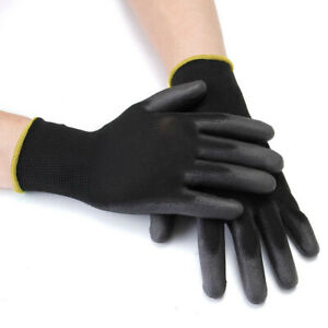 12/24 Pairs Nylon Safety Coated Work Gloves Builders Grip Palm Protect L Size