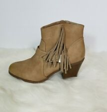 Circus by Sam Eldeman Tan Leah Fringe Ankle Bootie Boots Size 9