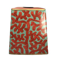 Toleware Metal Painted Napkin Box, Ocean Coral Design, New