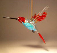 Blown Glass Figurine Bird Hanging Red and Blue HUMMINGBIRD Ornament