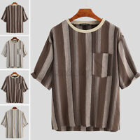 Summer Men's Baggy T Shirt Linen Tee Hippy Shirts Short Sleeve Stripe Top Blouse