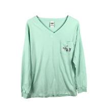 Victorias Secret Pink Womens T-Shirt Size XS Green V-Neck Pocket Long Sleeve Tee