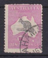 K1086) Australia 1917 10/- Grey & Deep aniline pink 10/- 3rd wmk Kangaroo