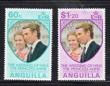 ANGUILLA #179-180  1973 WEDDING OF PRINCESS ANNE  MINT  VF lH  O.G  c