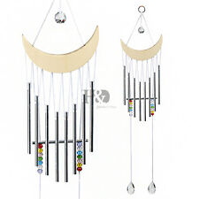 Large Wooden Moon Shape Wind Chimes Clear Crystal Chimes Outdoor Hanging Decor