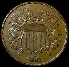1865 2 Cent   Very Sharp Raw AU Type!