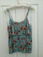 TU Womens Blue Floral Mix Strappy Vest Cami Cold Shoulder Top Size 14  New