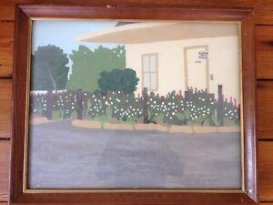 1974 Painting Cobham Depot Post Office Surrey UK Verna Walker Frame Outsider Art