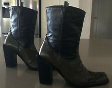 Pre-owned MARIAGRAZIA RIPARI Brown & Khaki Leather Cowgirl Boots Size 38.5