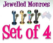 4 Anodized Titanium MONROE Labrets pierced Lip Chin 16g 8mm CLEAR DIAMONTE CZs