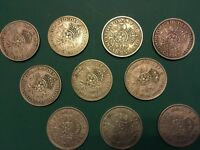 TEN GEORGE VI TWO SHILLING COINS  1938  -  1951
