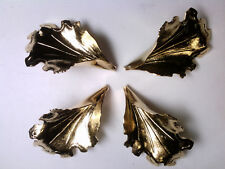 VTG 4 CURVED GOLD (BRASS?) LEAF BEAD CAPS 35mm #011219s LAMPS! ORNAMENTS!