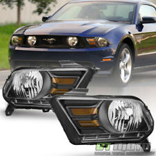 Black 2010 2011 2012 2014 Ford Mustang Headlights Halogen Headlamps Left+Right
