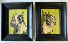 Pair Of Vintage Mid Century Boston Terrier Paint By Number 1950's