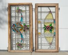 """Antique Stained Glass Windows Panel - Pair - Floral  - Large and Heavy 45"""" Long"""