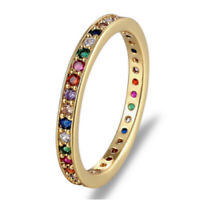 Thin Rainbow Gold Ring, Stacking Rings, Gold Stackable Eternity Ring Band Colour
