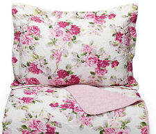 2-Piece Reversible Rose Floral Quilt Set Twin Laura Ashley Pink White Bedding