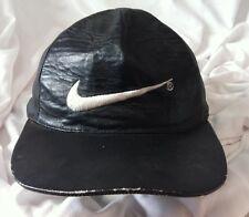 Vintage Nike Swoosh Symbol Black Leather Hat Embroidered Adjustable 90's