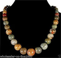 """Natural 6-14mm Multicolor Picasso Jasper Round Gemstone Beads Necklace 18"""""""