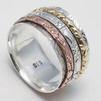 Solid 925 Sterling Silver Spinner Ring Meditation Statement Ring Size sr24445