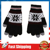 Warm Winter Unisex Loves Double Thickening nitted Touch Gloves Snowflake Gloves