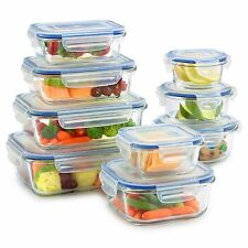 Glass Food Storage Container Set - BPA Free - Oven Microwave Freezer Safe - 18pc