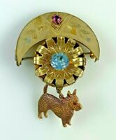 Victorian Pin Brooch with Brass Toned Crescent Moon on Top, Flower and Dog