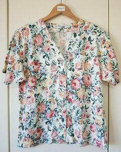 Vintage Design Essentials Blouse Size M/L Floral Print Shoulder Pads, Ladies Top