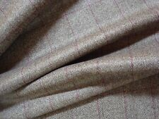 """2.77yd 100% WOOL PLAID FABRIC SUITING 11 oz JACKET 60 x 100"""" Taupe Wine BTP"""
