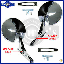 Chevy Chrome Round NO Bowtie Rear View RIBBED Base Door Side Mirror & Hdw PAIR