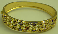 GORGEOUS GENUINE FIVE MULTI-GEMSTONE 18K GOLD VERMEIL BANGLE 7.25""