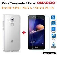 COVER CUSTODIA in TPU + PELLICOLA in VETRO TEMPERATO per Huawei Nova / Nova Plus