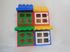 Lego Duplo - 4 x WINDOWS / DOORS with ROOF BRICKS - Ideal 4 Buildings, House Set