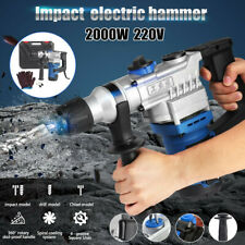 2000W 220V Electric Demolition Hammer Drill Breaker Chisels 360º Rotary 800rpm