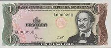 Dominican Republic , 1 Peso , Series of 1984 , P 126a , Low serial # 000026 Unc