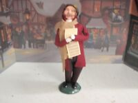 BYER'S CHOICE CAROLER 2003 MAN HOLDING MUSIC WITH BROWN SCARF HOLIDAY SALE