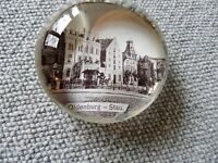 Altes Glas Andenken Briefbeschwerer Paperweight Oldenburg Stau um 1900