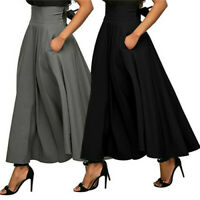 Women Vintage High Waist Skater Flared Pleated Skirt Pocket Casual Long Dress