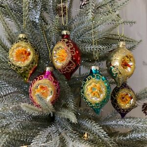 Box of 6 Bright Open Faced Glass Christmas Tree Baubles Rainbow Retro Vintage
