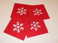 Set of 4 Square Christmas Coasters Snowflake Lazercut Red Felt Table Decoration
