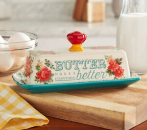 Pioneer Woman Vintage Floral Butter Dish Stoneware, Roses And Red Handle New