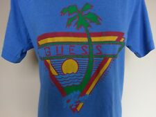 Vtg 80's GUESS JEANS Georges Marciano Blue Tee Shirt T-Shirt Palm Tree Triangle