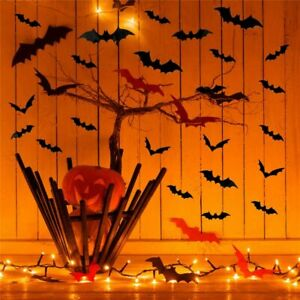 Halloween Decoration 3D Black PVC Bat Bar Room Party Scary Decore Wall Stickers